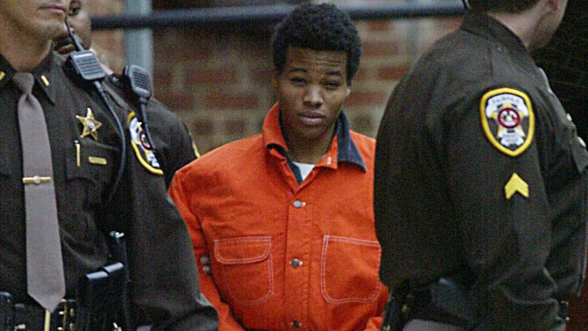 Sniper Lee Boyd Malvo leaves a pre-trial hearing at the Fairfax County Juvenile and Domestic Relations Court Dec. 4, 2002.