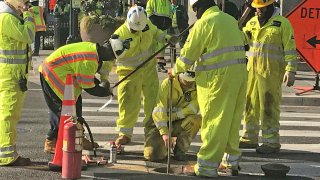 Workers respond to gas leak