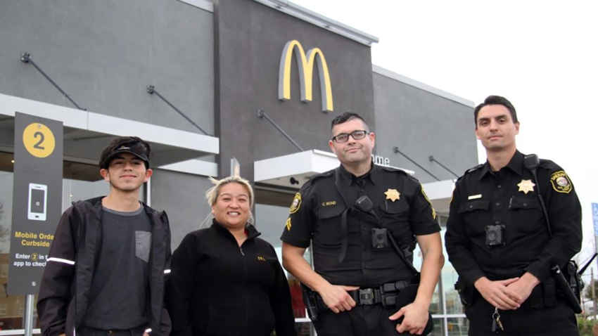 "Employees at a McDonald's in Lodi, Calif., called police after a woman asked them to hide her and later mouthed ""help me."""