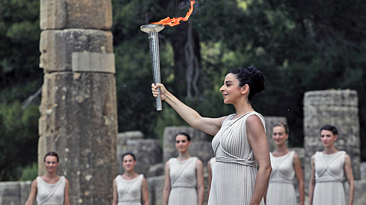 Olympic torch flame lighting Olympia Greece Temple of Hera relay London 2012