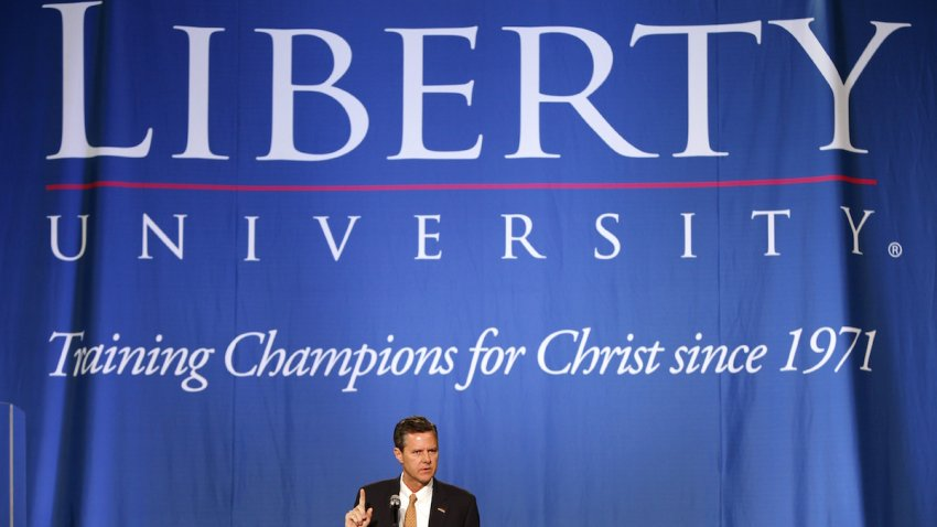 Jerry Falwell Jr., president and chancellor of Liberty University, introduces the convocation speaker in the Vines Center at Liberty University in Lynchburg, Va., Feb. 13, 2013.