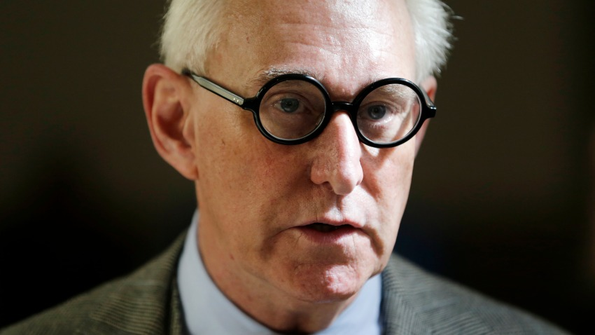 FILE - In this March 30, 2017, file photo, Roger Stone talks to reporters outside a courtroom in New York.