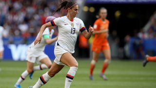 United States' Alex Morgan controls the ball during the Women's World Cup final soccer match between US and The Netherlands at the Stade de Lyon in Decines, outside Lyon, France, Sunday, July 7, 2019.