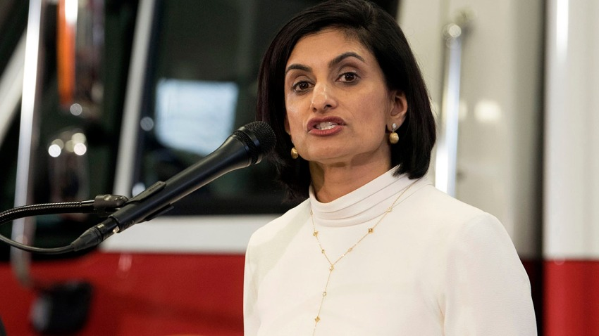 In this Feb. 14, 2019, file photo, Centers for Medicare & Medicaid Services (CMS) Administrator Seema Verma speaks during a news conference in Washington.