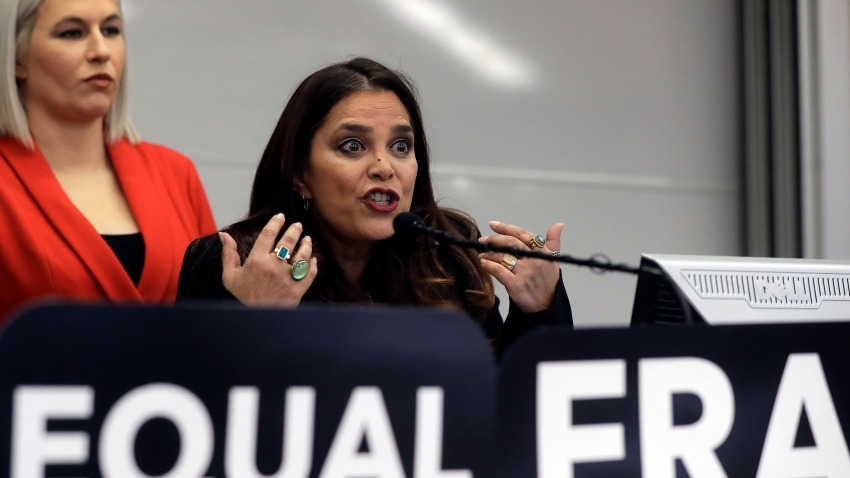 Kamala Lopez, right, president of Equal Means Equal, faces reporters as Natalie White, left, vice president of the organization, looks on during a news conference, Tuesday, Jan. 7, 2020, in Boston. Supporters of the Equal Rights Amendment filed the federal lawsuit in Massachusetts aimed at paving the way for adoption of the long-delayed constitutional amendment.