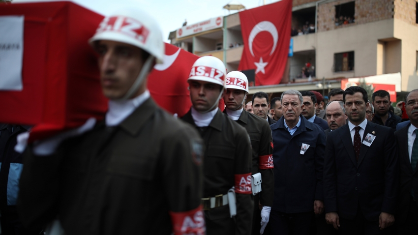Funeral ceremony for Turkish troops killed in attack in Syria