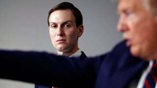 White House adviser Jared Kushner listens as President Donald Trump speaks about the coronavirus in the James Brady Press Briefing Room of the White House, Thursday, April 2, 2020, in Washington.