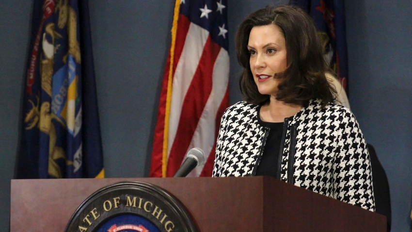 In this April 20, 2020, file photo, provided by the Michigan Office of the Governor, Michigan Gov. Gretchen Whitmer addresses the state in Lansing, Mich.