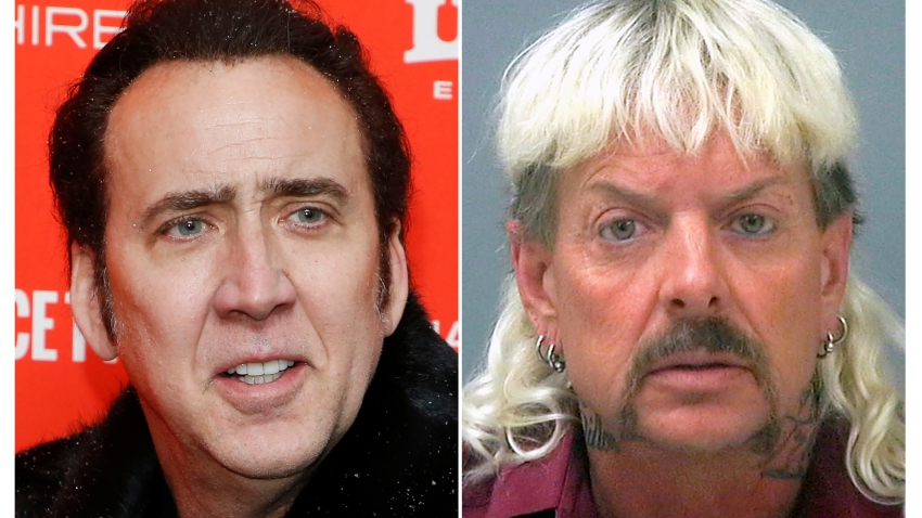 """This combination photo shows actor Nicolas Cage at the premiere of """"Mandy"""" during the 2018 Sundance Film Festival in Park City, Utah. on Jan. 19, 2018, left, and a booking mug of provided by the Santa Rosa County Jail in Milton, Fla., shows Joseph Maldonado-Passage, also known as """"Joe Exotic."""""""