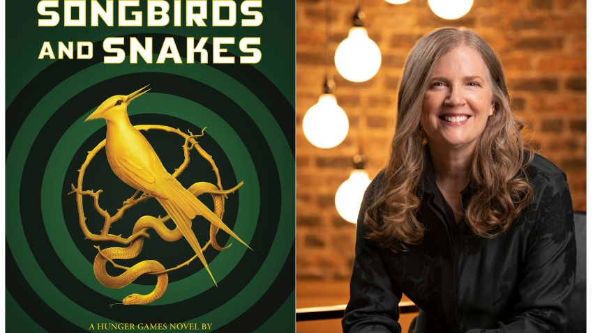 "This combination of images released by Scholastic shows the cover image for ""The Ballad of Songbirds and Snakes,"" by Suzanne Collins, left, and a portrait of Collins. The ""Hunger Games"" novel will be released on May 19."