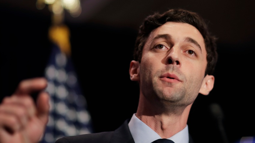 FILE- In this June 20, 2017, file photo, Jon Ossoff speaks in Atlanta.