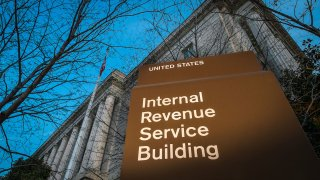 Internal Revenue Service Building with sign in front