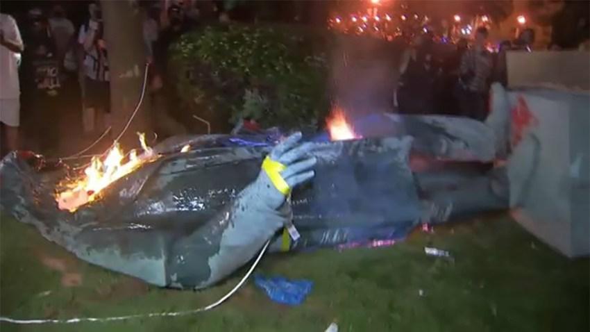 Demonstrators Topple, Burn Statue of Confederate General Near DC ...
