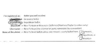 An absentee ballot request allegedly altered by a West Virginia postal carrier.