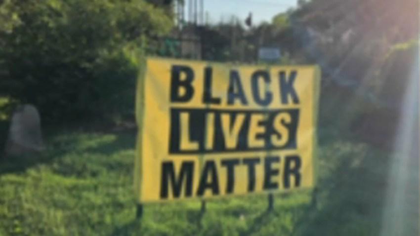 A Black Lives Matter banner at Unitarian Universalist Church
