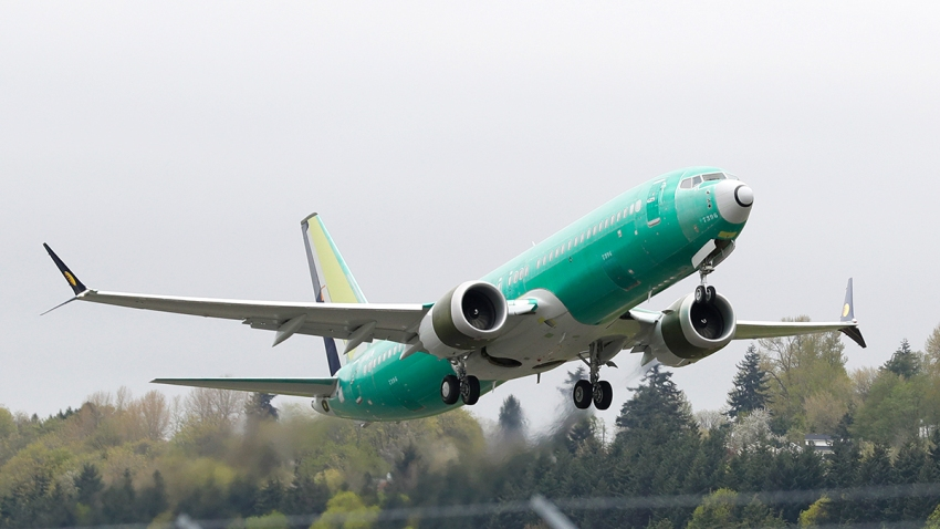 In this Wednesday, April 10, 2019, file photo, a Boeing 737 MAX 8 airplane being built for India-based Jet Airways, takes off on a test flight at Boeing Field in Seattle.