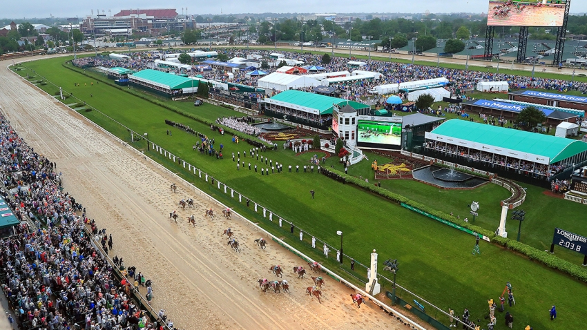 FILE - Country House, ridden by jockey Flavien Prat, crosses the finish line to win the 145th running of the Kentucky Derby at Churchill Downs, May 4, 2019, in Louisville, Ky.