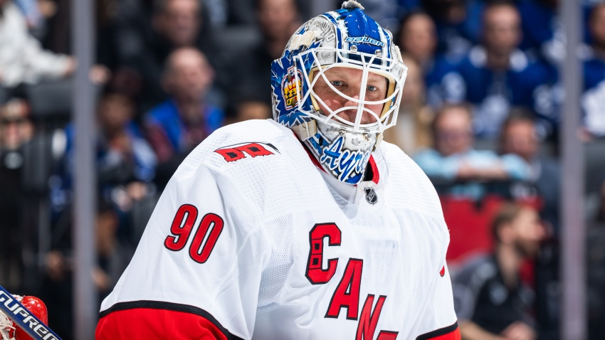 Emergency goalie David Ayres makes his NHL debut at Scotiabank Arena on February 22, 2020 in Toronto, Canada.