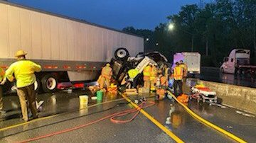Truck Carrying Test Tubes Overturns on Beltway Near Connecticut Avenue