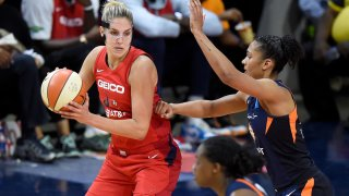 Elena Delle Donne handles the ball against Alyssa Thomas of the Connecticut Sun in Game 5 of the 2019 WNBA Finals.