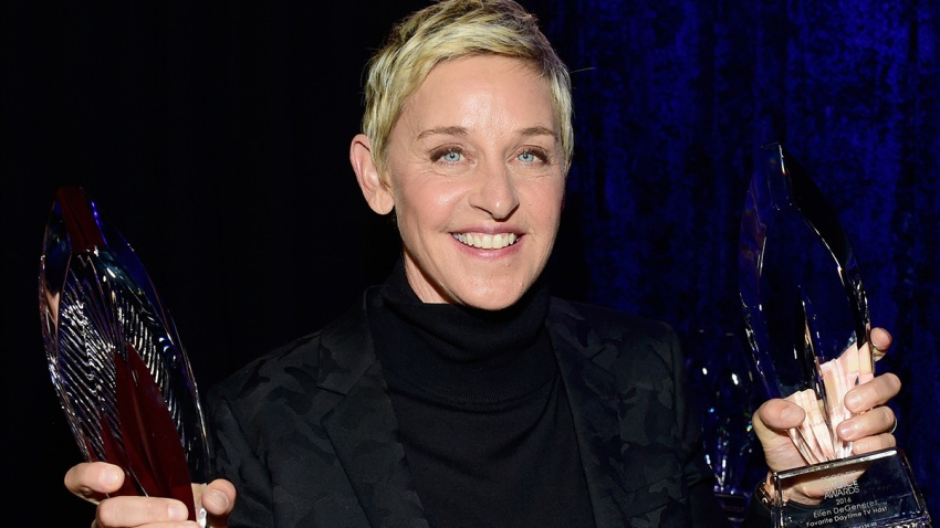 In this Jan. 6, 2016, file photo, Ellen DeGeneres, winner of the award for Favorite Humanitarian, attends the People's Choice Awards 2016 at Microsoft Theater in Los Angeles, California.