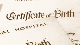 Close-up of a stack of birth certificates.