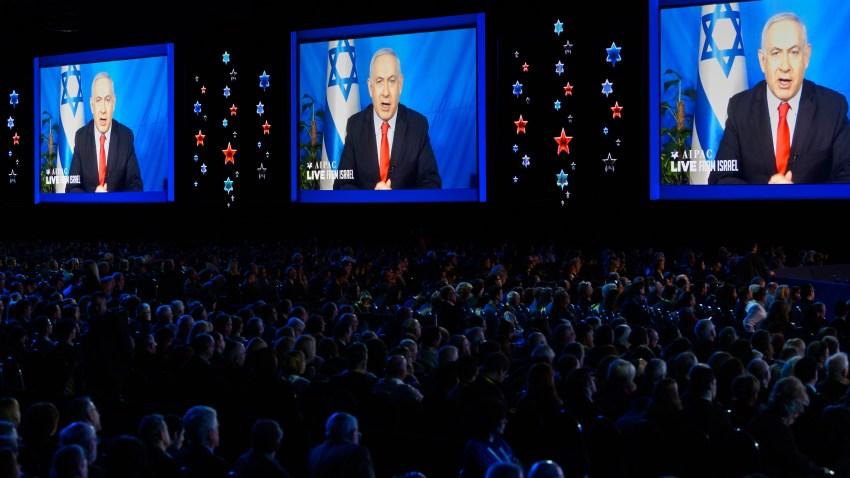Benjamin Netanyahu, Prime Minister of Israel seen speaking