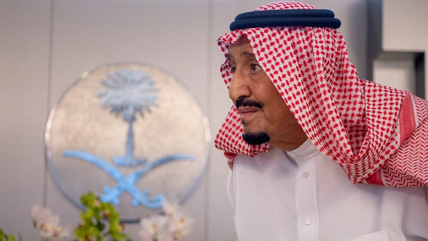 In this Sept. 25, 2019, file photo, the King of Saudi Arabia, Salman bin Abdulaziz Al Saud, meets Iraq Prime Minister Adil Abdul-Mahdi at Al-Salam Royal Palace in Jeddah, Saudi Arabia.