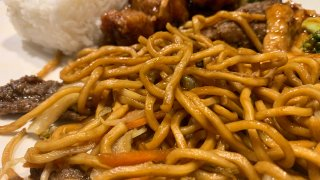 A close-up of American style Chinese food