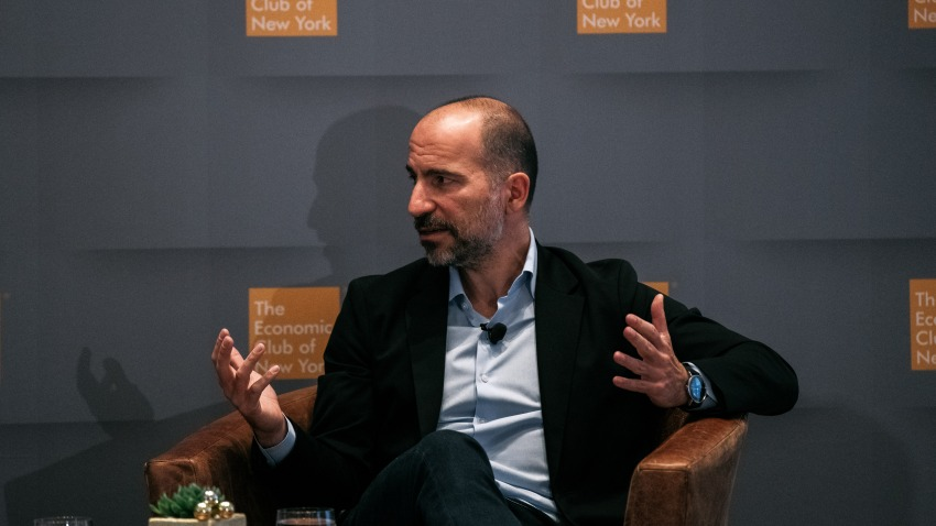 Uber CEO Dara Khosrowshahi speaks at a meeting of the Economic Club of New York in Manhattan on December 4, 2019 in New York City.