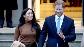 In this Jan. 7, 2020, file photo, Prince Harry, Duke of Sussex, and Meghan, Duchess of Sussex, depart Canada House in London, England.