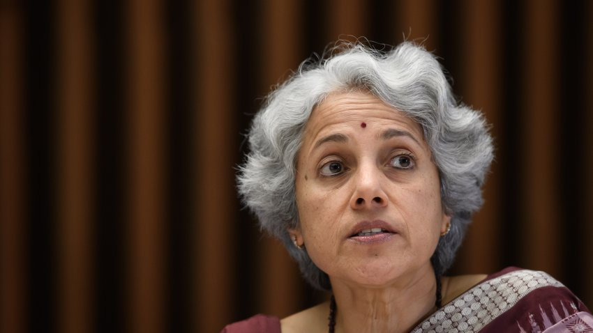 World Health Organization (WHO) Chief scientist Dr. Soumya Swaminathan at a news conference on Jan. 12, 2020, in Geneva.