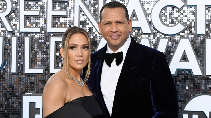 Jennifer Lopez and Alex Rodriguez attend the 26th Annual Screen ActorsGuild Awards at The Shrine Auditorium on Jan. 19, 2020, in Los Angeles.