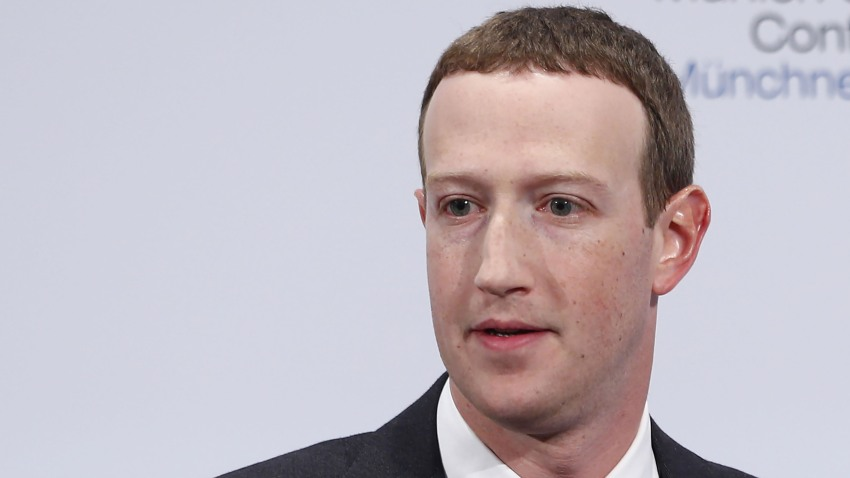 Mark Zuckerberg speaks during the Munich Security Conference at the Bayerischer Hof hotel in Munich, Germany, on Feb. 15, 2020.