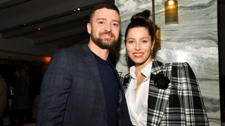 """In this Feb. 3, 2020, file photo, Justin Timberlake and Jessica Biel pose for portrait at the Premiere of USA Network's """"The Sinner"""" Season 3 in West Hollywood, California."""