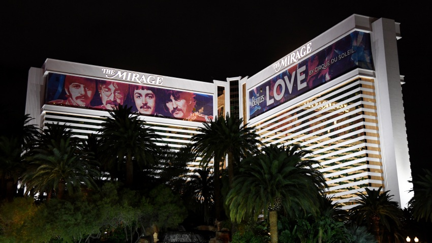 """Building wraps for the """"The Beatles LOVE by Cirque du Soleil"""" show are shown on the exterior of The Mirage Hotel & Casino"""