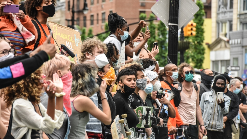 In this May 28, 2020, file photo, protesters clash with police during a rally against the death of George Floyd at the hands of police in New York's Union Square — one of several rallies nationwide.