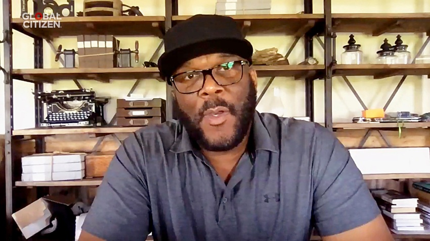 "In this screengrab, Tyler Perry speaks during ""One World: Together At Home"" presented by Global Citizen on April, 18, 2020."