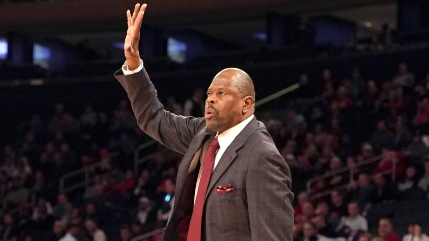 Head coach Patrick Ewing of the Georgetown Hoyas signals to his players during the Big East Conference Men's Basketball Tournament