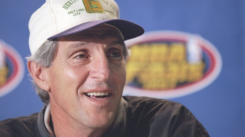 Coach Jerry Sloan of the Utah Jazz speaks to reporters during a press conference before a playoff game