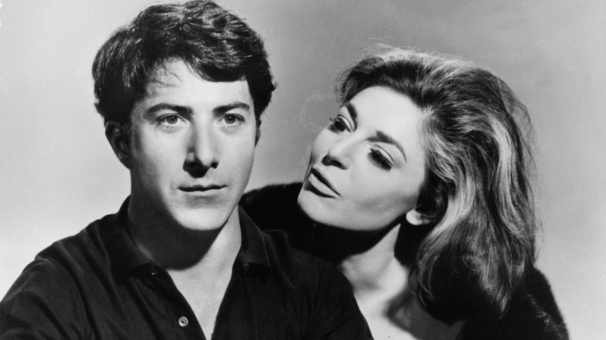 Dustin Hoffman and Anne Bancroft publicity portrait for the film 'The Graduate', 1967