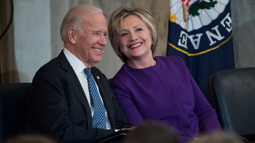 Vice President Joe Biden and former Secretary of State Hillary Clinton attend a portrait unveiling ceremony for retiring Senate Minority Leader Harry Reid, D-Nev., in Russell Building's Kennedy Caucus Room, December 08, 2016.