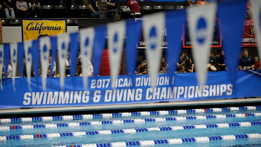 Banners hang during the Division I Women's Swimming & Diving Championships held at the Indiana University Natatorium on March 18, 2017 in Indianapolis, Indiana.