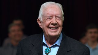 Former U.S. President Jimmy Carter speaks to the congregation at Maranatha Baptist Church before teaching Sunday school in his hometown of Plains, Georgia on April 28, 2019.