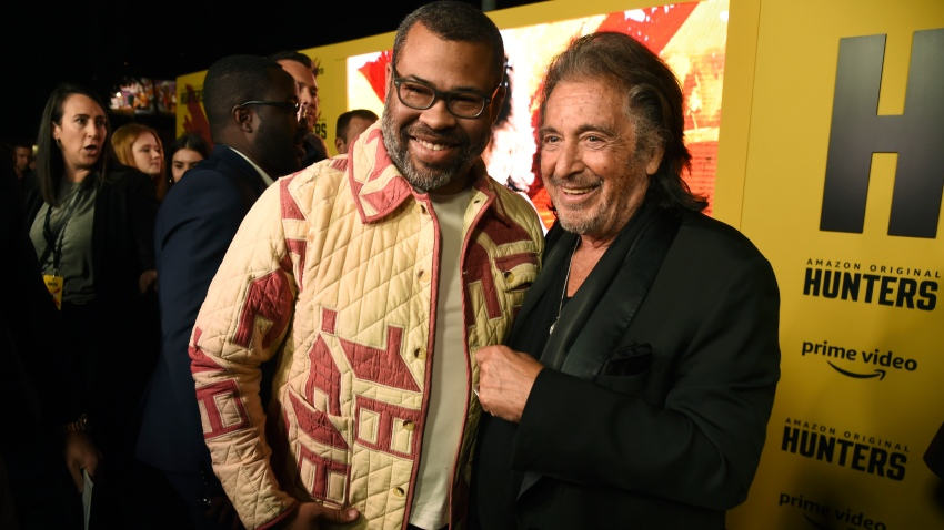 "Al Pacino, right, a cast member in the Amazon Prime Video series ""Hunters,"" poses with executive producer Jordan Peele at the premiere of the show at the Directors Guild of America, Wednesday, Feb. 19, 2020, in Los Angeles."