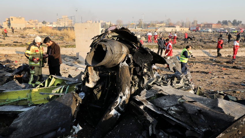 In this Wednesday, Jan. 8, 2020 file photo debris at the scene where a Ukrainian plane crashed in Shahedshahr southwest of the capital Tehran, Iran.