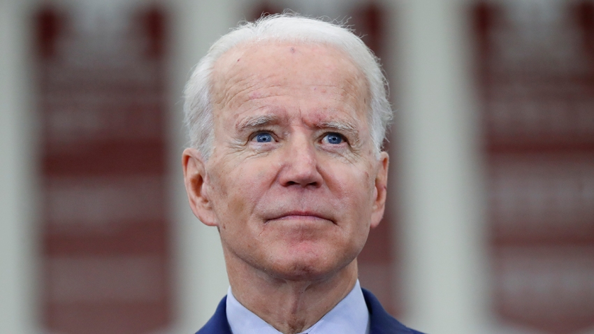 In this March 9, 2020, file photo, Democratic presidential candidate former Vice President Joe Biden speaks during a campaign rally at Renaissance High School in Detroit, Mich.