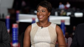 "In this July 17, 2016, file photo, Joy-Ann Reid, host of ""AM Joy,"" appears on ""Meet the Press"" in Cleveland, OH."