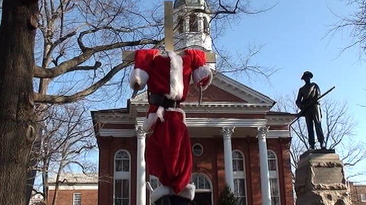 Loudoun County Courthouse Beheaded Skeleton Santa on a Cross