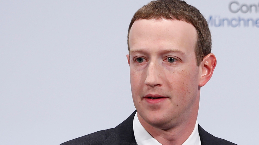Facebook CEO Mark Zuckerberg speaks on stage at the Munich Security Conference in Munich, Germany, Feb. 15, 2020.